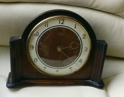 Vintage 1900's Wooden Smiths England Antique Mantle Clock with Key Made in UK