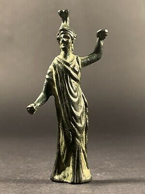 Fantastic Ancient Roman Bronze Statuette Of God Minerva Wisdom Circa. 100-300 Ad