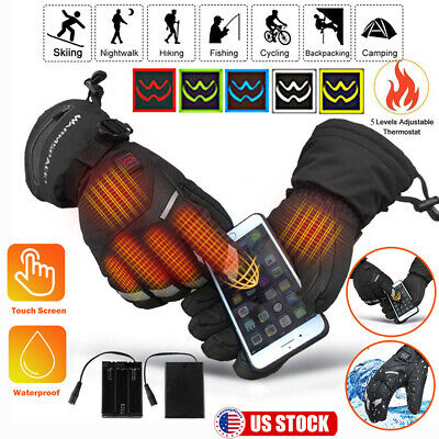 Motorbike Motorcycle Heated Gloves Winter Warm Touch Screen Electric Warmers US