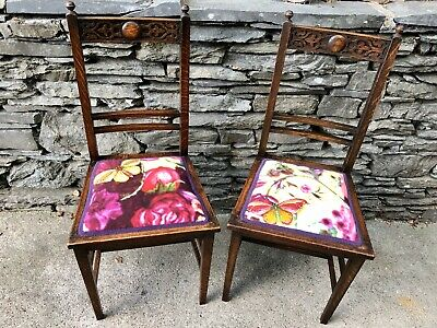 Arts and Crafts Style Oak Chairs In Timorous Beasties