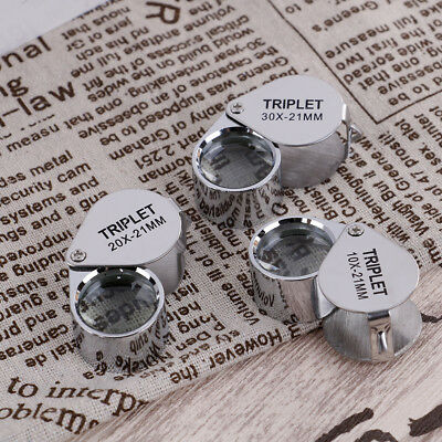Triplet Diamond  Glass Magnifying Magnifier Jeweler Eye Jewelry Loupe Loop V6ON