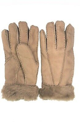 Women's Genuine Sheepskin Camel Warm Leather Shearling Suede Fur Gloves
