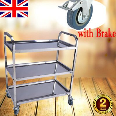 3 Tier Stainless Steel Hostess Catering/Dining Car Service Trolley Cart Storage