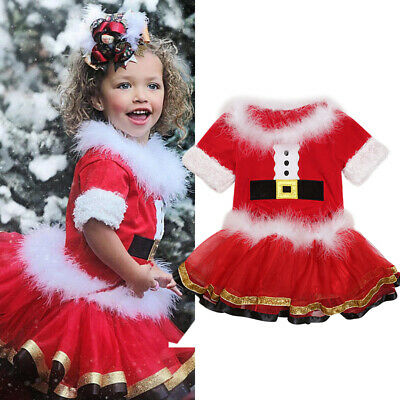 Kids Girls Christmas Red Tutu Skirt and Top Outfit Party Dress Set