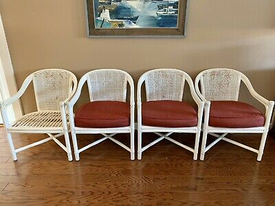 Genuine McGuire San Francisco Chairs Set of Four White Rattan & Caning Vintage