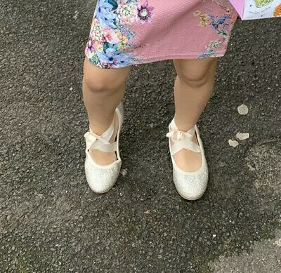 NEXT Girls gold glitter ballerina style shoes worn once amazing con size 12!