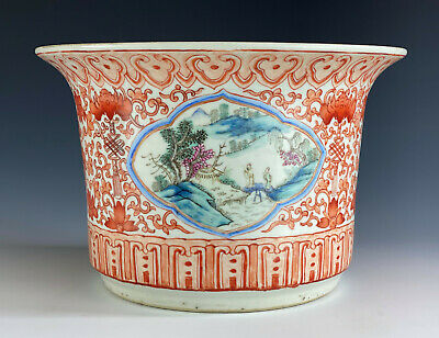 Antique Chinese Porcelain Large Planter Copper Red Famille Rose Qing