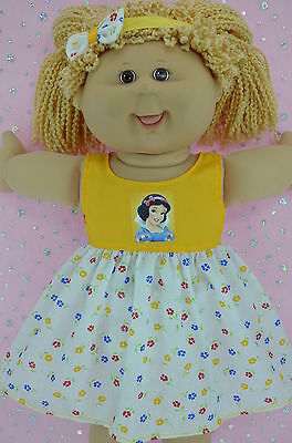 "Play n Wear Dolls Clothes To Fit 16"" Cabbage Patch YELLOW/FLORAL DRESS~HEADBAND"