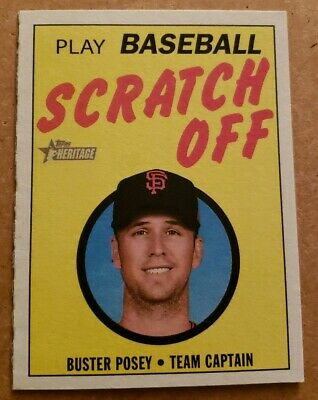 2019 Topps Heritage 1970 Topps Scratch-Off #11 Buster Posey San Francisco Giants Baseball Card