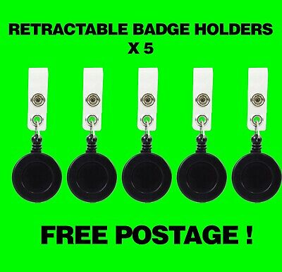 5 X Retractable Reel Badge Holder Black-ID tag,pull clip,key tag,security #120