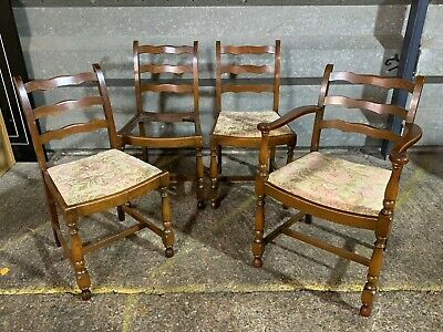 Set of 4x vintage ladder back farmhouse style dining chairs inc carver chair