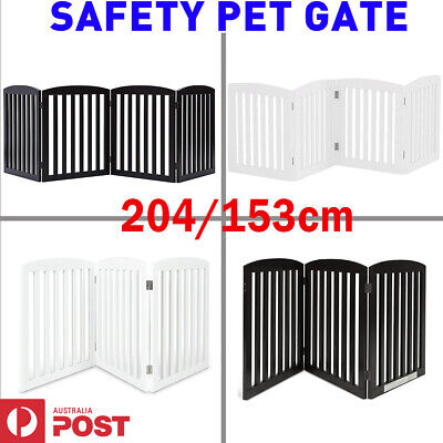 Freestanding Puppy Pet Gate Wooden Foldable Security Safety Barrier Door Guard