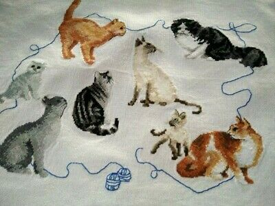 Completed Cats & Kittens Ball of Wool  Vintage Hand Mico Cross Stitch Panel
