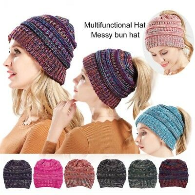 Women's Ponytail Beanie Ribbed Winter Messy Bun Cable Warm Soft Knitted Hat jc