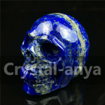 "1.8"" Natural Quartz Crystal Carved Lapis Lazuli Skull Stone Healing Figurines"
