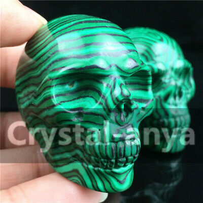 "1.8"" Malachite Carved Skull Quartz Crystal Stone Skull Healing Figurines"