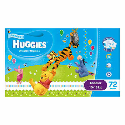 NEW Huggies Ultra Dry Nappies Toddler 10-15Kg 72 Pack