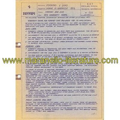 1973 Ferrari technical information n°0222 and Dino (Warranty terms)