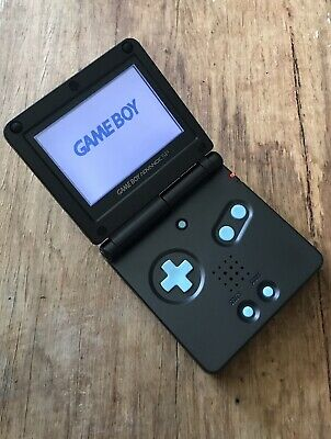 Gameboy Advance SP Black Teal AGB-001 GBA SP Handheld Gaming Console Nintendo