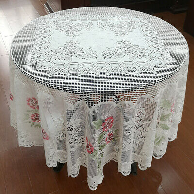 """White Vintage Lace Floral Tablecloth Round Table Cloth Cover Wedding Party 70"""""""