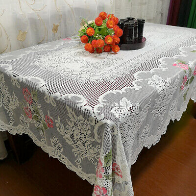"""Vintage Rectangle Table Cloth White Floral Lace Tablecloth Wedding Decor 60""""x90"""""""