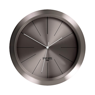 Space Hotel, Ace Asteroid Large Silent Wall Clock, Metal Case with White Metal -