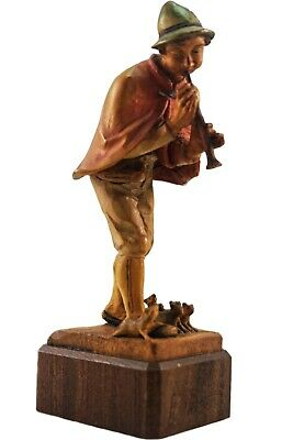 1960's LARGE ANRI HAND CARVED WOOD PIED PIPER OF HAMELIN FIGURINE SCULPTURE