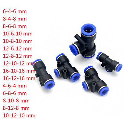 T Reducing Straight Tee Pneumatic Connector Fitting Unequal Dia 4mm-16mm Push-In