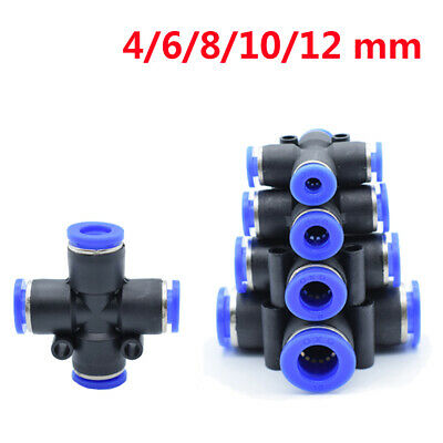 Straight Cross Pneumatic Connector Fitting Equal Dia 4/6/8/10/12mm Fast Push-In