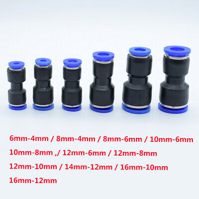 Reducing Straight Pneumatic Connector Fittings Fast Adapter Unequal Dia 16mm-4mm