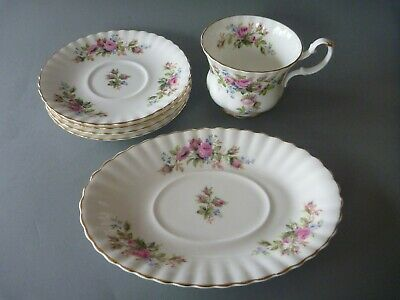 "Royal Albert Moss Rose Spares: Gravy / Breakfast Cup / Saucers 6.25"" or 16cm"