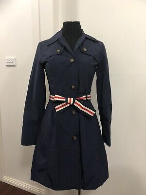 Authentic Tommy Hilfiger Navy Trench Coat Size XS Petit Womens Girls - As New