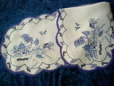 Gorgeous Blue Willow ~ Vintage Hand Embroidered Runner/Scarf