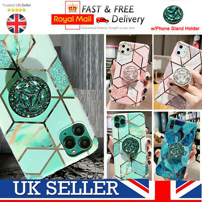 Geometric Marble Case For iPhone 11 Pro XS Max XR 8 7 With Holder Stand