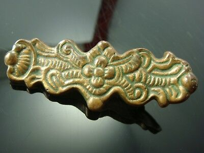 Vintage Old Brass Cast Metal Signed Ornate Heavy Bar Pin Brooch (J-7)