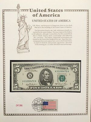 🇺🇸 USA 1981, $5 Unc Banknote. First Day Of Issue, Buchanan/Regan Flag Series