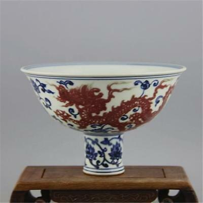 Old Chinese Ming Underglaze red Blue White Dragon Porcelain High Foot Bowl