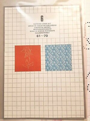 Pc183 Silver Reed Knitting Machine Set 6 Design Mylar Sheets Cards 61-70 X 10