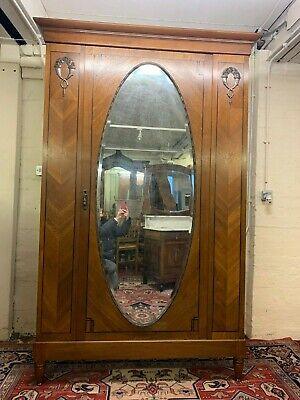 Outstanding Quality French Oak Art Deco Mirrored Armoire/Wardrobe