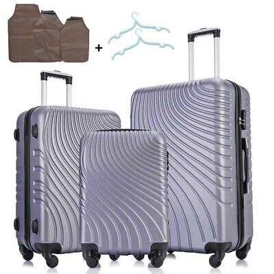 3 Piece ABS Spinner Hardshell Luggage Set Business Suitcase Carry On Case Silver