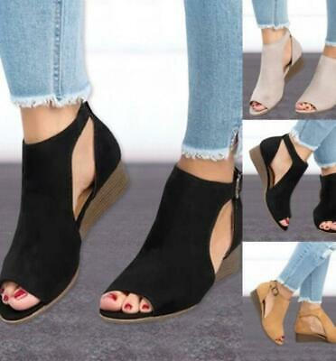 Women Suede Wedge Sandals Summer Ladies Ankle Strap Buckle Peep Toe Casual Shoes