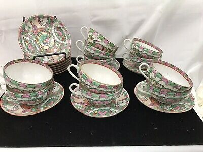 11 Vintage Rose Medallion Chinese Porcelain Cups And Saucers W Teapot