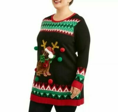 Womens Plus 0X Ugly Christmas Sweater Tunic~Cute Puppy Dog Antlers Pom Poms~NWT