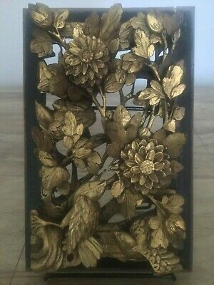 Antique Chinese 3D Gold Gilt Wood Panel 19th Century FREE DOMESTIC SHIPPING!