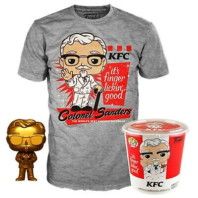Funko Pop! KFC Gold Colonel Sanders + Pop! Tee 2XL In Hand! Free Priority S&H!