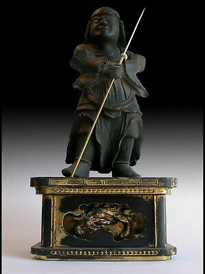 Antique Muromachi Japanese Carved Vaishravana Tamonten Shitenno Wood Statue 多聞天
