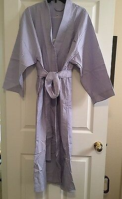 NWT Claire Murray Belted 100% Cotton Robe Lavender with Flower Applique Size L
