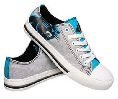 NFL Womens Ladies Glitter Low Top Canvas Sneaker Shoes Carolina Panthers 8