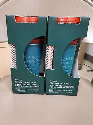 Starbucks 2019 Holiday Christmas Reusable Cold Cups 24oz 5 pack -Free shipping