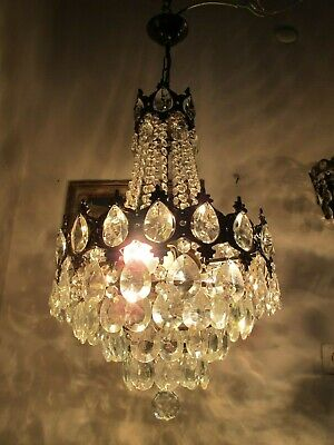 Antique Vnt French  french basket style Crystal Chandelier Lamp 1940's 13in Dmt,